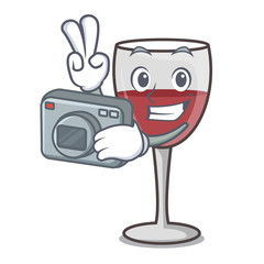 Photographer wine mascot cartoon style