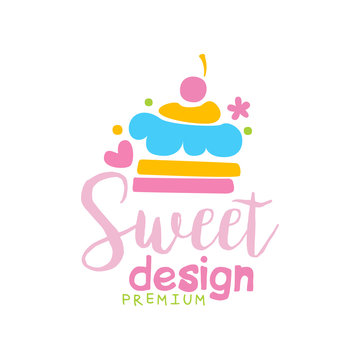 Sweets premium logo design, label for confectionery, candy shop, restaurant, bar, cafe, menu, sweet store vector Illustration on a white background