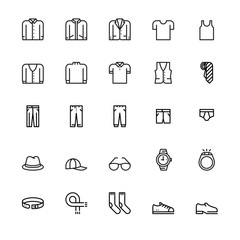 Men's clothing and personal accessories, icons ,vector and illustration