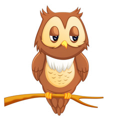 Cute owl cartoon eyes wistful