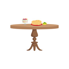 Round wooden table with food for breakfast vector Illustration on a white background