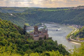 Castle Katz in sankt Goarshausen Rhine Valley landscape Germany