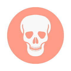 Sign human skull. Icon skull in rose circle isolated on white background. Infographic vector illustration