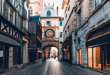 Street with the Gros-Horloge (Great-Clock) is a fourteenth-century astronomical clock and timber framing houses in Rouen, Normandy, France