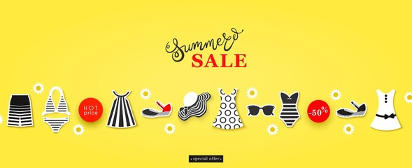 Summer Shopping, Advertising of shop and boutique of seasonal clothes, footwear, accessories