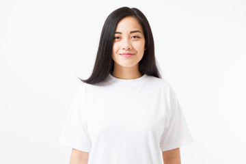 Young asian girl isolated on white background. Copy space. Mock up. Summer woman clothes blank template white t shirt.
