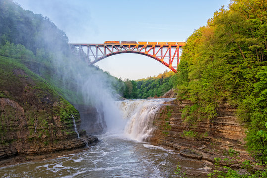 Train Crossing The Arch At Letchworth State Park
