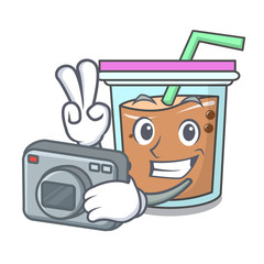 Photographer bubble tea mascot cartoon