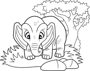 cartoon cute elephant, funny illustration coloring book