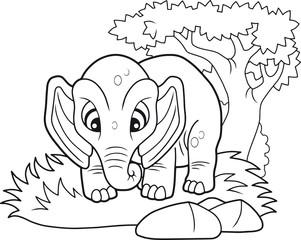 cartoon cute elephant, funny illustration coloring book