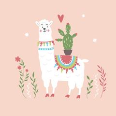 Llama Illustration, cute llama on pink background