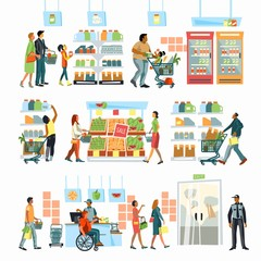 Supermarket interior. People shopping food. People stand in line at the cash register. A person in a wheelchair pays for a purchase. Retail store illustration with people in flat style.