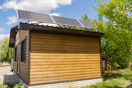 solar panels on a wooden house