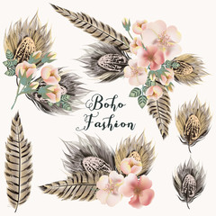 Collection of fashion boho boquets with roses and feathers for design