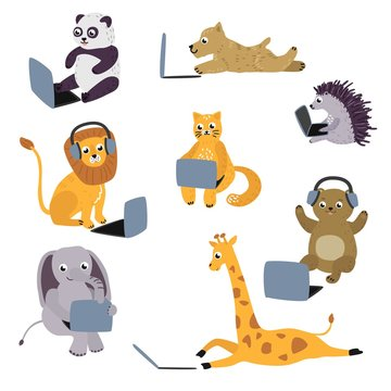 Cheerful animal kids sitting, lying with laptop and headphones set. Cute pets characters elephant, lion cat, giraffe and modern computer technologies and communication. Vector cartoon illustration