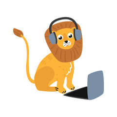 Cheerful lion kid animal sitting behind laptop in headphones. Cute pets characters and modern computer technologies and communication. Vector cartoon illustration