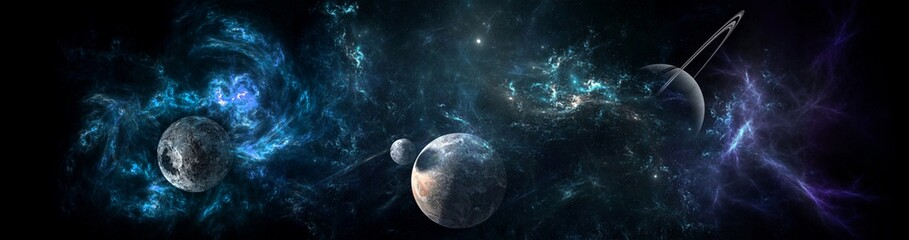 Planets and galaxy, science fiction wallpaper. Beauty of deep space. Billions of galaxy in the universe Cosmic art background Wall mural