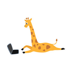 Cheerful giraffe kid animal lying at ground behind laptop screen. Cute pets characters and modern computer technologies and communication. Vector cartoon illustration