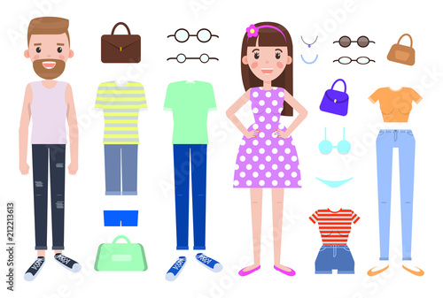 Fashion Design Constructor with Man and Woman Vector
