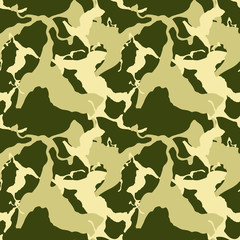 Military camouflage seamless pattern in different shades of green color