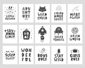 Kids posters set. Scandinavian style childish typography print