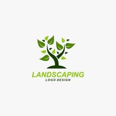 Landscaping logo design vector.