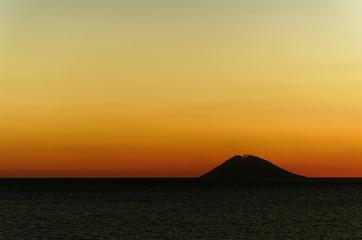 Volcano 'Stromboli' at sunset.
