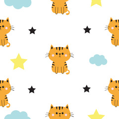 Orange at head, hands. Cloud, star shape. Cute cartoon kawaii character. Baby pet collection. Seamless Pattern Wrapping paper, textile template. White background. Flat design.