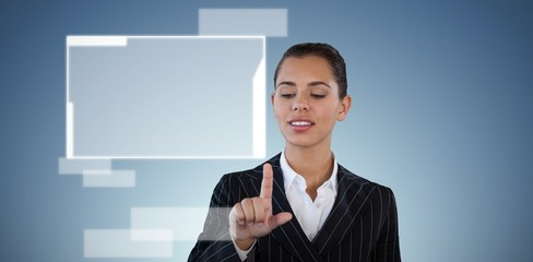 Composite image of businesswoman in suit touching invisible
