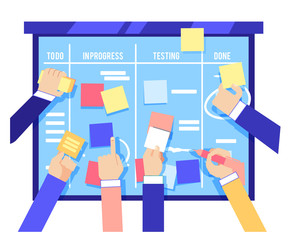 Scrum board concept with human hands sticking colorful papers and writing tasks on blue board isolated on white background. Agile methodology to manage business project in flat vector illustration.