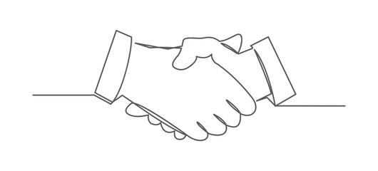 Handshake One line drawing