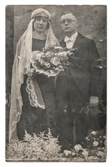 Vintage wedding photo Just married couple