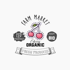 Bio sticker and eco products. Cherry web element, Isolated Vector.