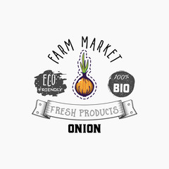 Onion Bio sticker and eco products. Onion web element, Isolated Vector.