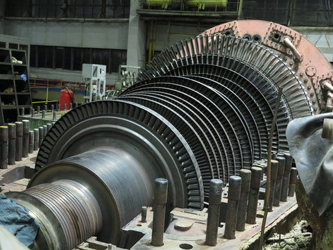 Disassembled steam turbine in the process of generator repair at power plant