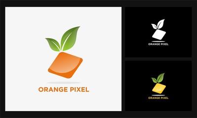 abstract orange pixel logo