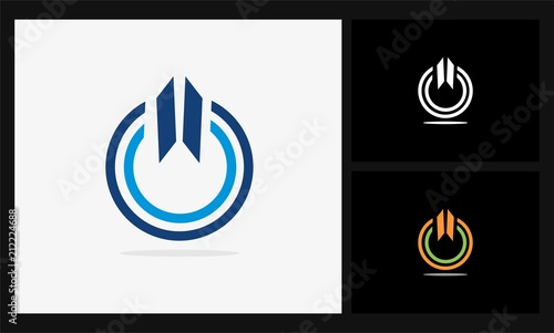 Circle Line Power Button Logo Stock Image And Royalty Free Vector