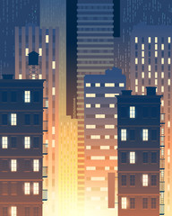 Vector vertical illustration of modern buildings at night, lights from windows. Background with urban large buildings - skyscrapers. Townish, municipal concept for banner, poster.