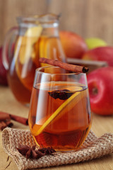 Apple cider with spices.