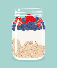 Overnight oats with fresh strawberries, blueberries and yogurt in glass vintage mason jar. Healthy natural delicious breakfast. Portion of oats with berries in a jar. Vector hand drawn illustration.