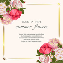 Template for greeting cards, wedding decorations, invitation, sales. Vector banner with peony, roses flowers. Spring or summer design.