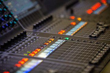 Sound music mixer desk close up