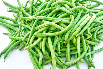 Green beans, natural fresh product on white background
