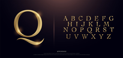 Set of Elegant Gold Colored Metal Chrome Uppercase Alphabet Font. Typography classic style golden font set for logo, Poster, Invitation. vector illustration Wall mural