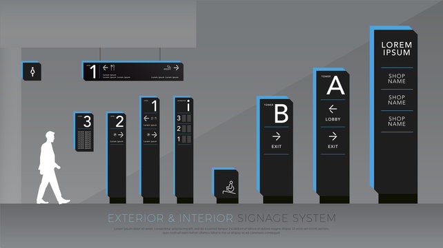 exterior and interior signage. directional, pole, and traffic signage system design template set. empty space for logo, text blue and black color corporate identity