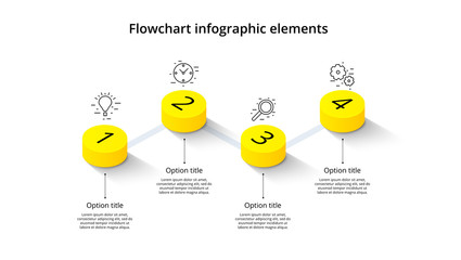 Fototapeta Business process chart infographics with 4 step segments. Isometric 3d corporate timeline infograph elements. Company presentation slide template. Modern vector info graphic layout design. obraz