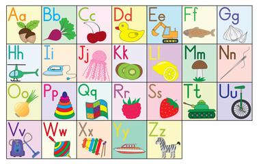English alphabet, cards, set. Education for kids. Vector illustration.