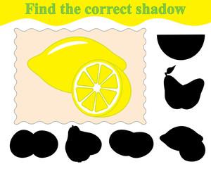 Game for children. Find the correct shadow of lemons. Education. Vector illustration.