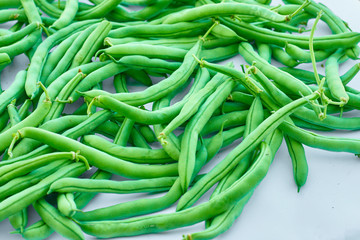 Asparagus bean. Green beans on white background
