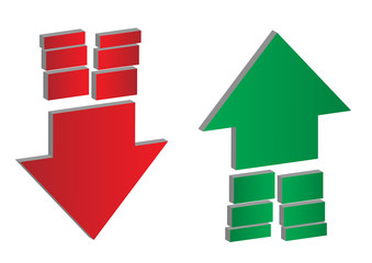 Up and down arrows. Upward, downward arrows with dividing ends in green and red isolated on white background, set of two. Eps 10 vector illustration.